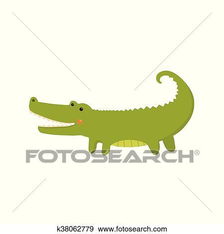 Clip Art - cocodrilo, realista, infantil, ilustración k38062779 ...