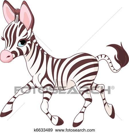 clip art of cute running baby zebra k6633489 search clipart rh fotosearch com Cute Zebra Face cute zebra clipart