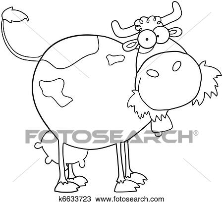 Clipart Of Outlined Farm Dairy Cow K6633723