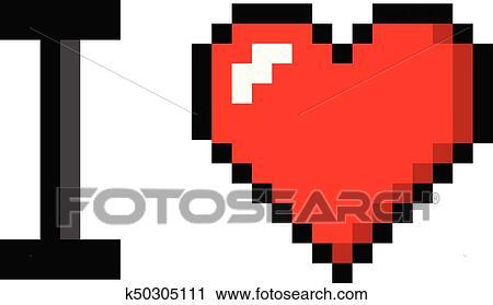 Pixel Art Drapeau Coeur