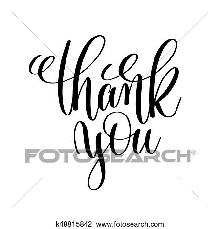 Clipart Of Thank You Black And White Handwritten Lettering K48815842