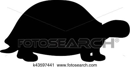 Tortue silhouette clipart k43597441 fotosearch - Clipart tortue ...