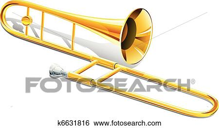 clip art of trombone musical instrument k6631816 search clipart rh fotosearch com Black and White Trombone Clip Art Black and White Trombone Clip Art