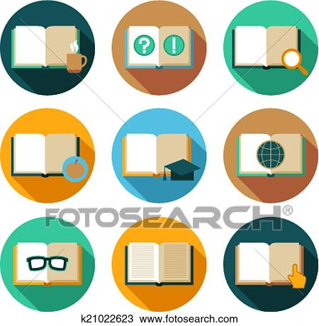 Clipart Of Books And Symbols Flat Icons Set K21022623 Search Clip