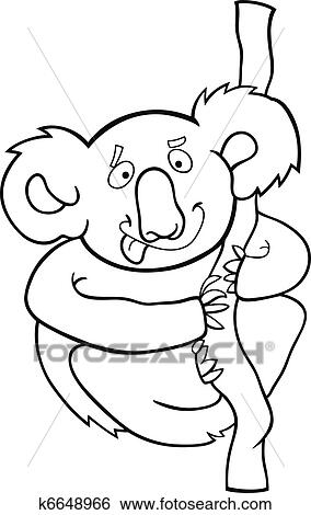 Clip Art - caricatura, koala, para, libro colorear k6648966 - Buscar ...