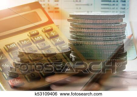 Double Exposure Of Coins With Calculator And Book Bank Account For Finance Concept