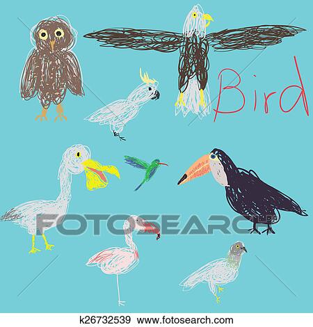 Eight Birds Free Hand Drawing Cartoon Design
