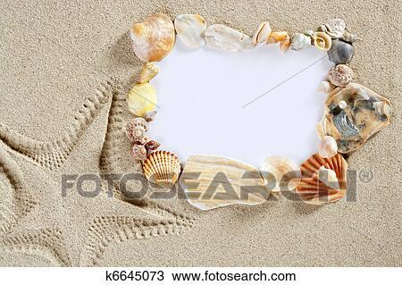 Colección de foto - frontera, marco, verano, esqueleto playa ...