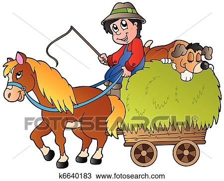 clipart of hay cart with cartoon farmer k6640183 search clip art rh fotosearch com hat clip art hat clip art outline