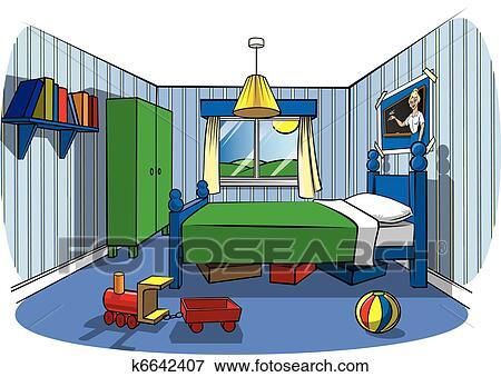 Clipart Schlafzimmer   Clip Art Schlafzimmer Kindern K6642407 Suche Clipart Poster