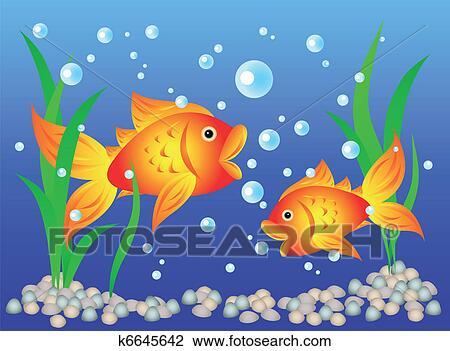 Clipart poisson rouge dans aquarium k6645642 for Poisson rouge immobile fond aquarium