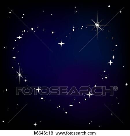 banque d 39 illustrations toile c ur dans ciel nuit k6646518 recherche de clip arts au. Black Bedroom Furniture Sets. Home Design Ideas