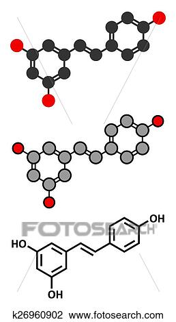 Resveratrol Molecule Present In Many Plants Including Grapes And