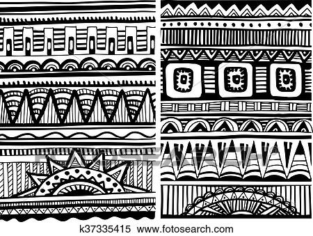 Clipart of Set of African patterns k40 Search Clip Art Fascinating African Pattern