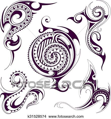 clipart of set of tribal tattoo shapes k31528574 search clip art rh fotosearch com tribal clipart free tribal clipart design