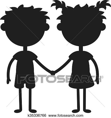 clip art of twins happy kids holding hands black silhouette boy and