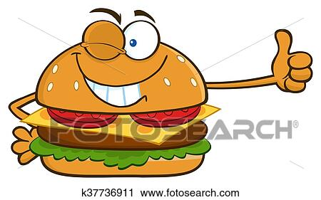 Clipart Of Winking Burger Cartoon Character K37736911 Search Clip