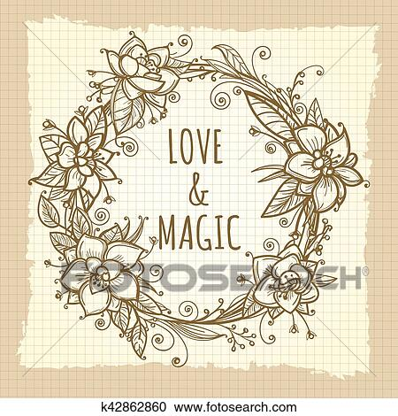 Clipart Of Boho Floral Wreath On Vintage Background K42862860