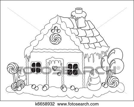 Clipart - casa de pan de jengibre, colorante, página k6658932 ...