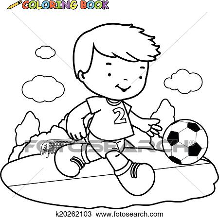 Child Playing Soccer Coloring Book Page Clipart K20262103