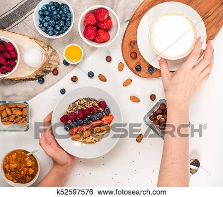 Good Morning Healthy Breakfast With Text Space Top View Stock