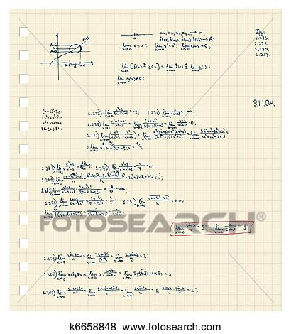 Clip Art - hoja, de, cuaderno, con, matemáticas, conferencia ...