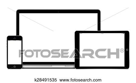 Mobile Per Pc.Laptop Tablet Pc Computer And Mobile Smartphone With Blank