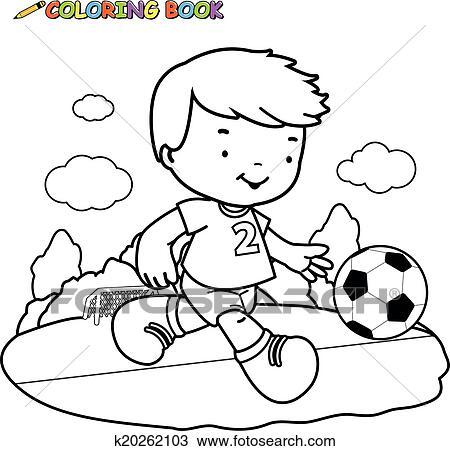 Clipart - libro colorear, futbol, niño k20262103 - Buscar Clip Art ...