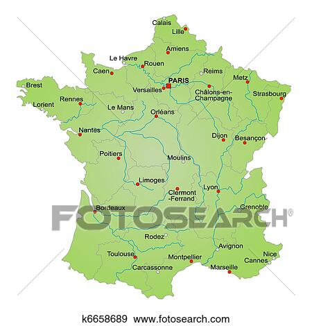 The Map Of France With The City.Map France Standartinė Iliustracija