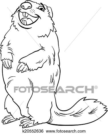 Clip Art - marmota, animal, caricatura, libro colorear k20552636 ...