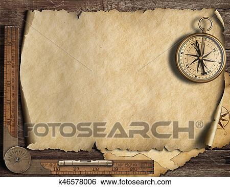 Stock Illustration Of Old Blank Map Background With Compass