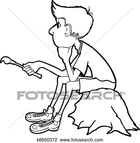 clipart of thinking boy k6650372 search clip art illustration Looking and Thinking line drawing of a boy sitting on a rock holding a paint brush and thinking