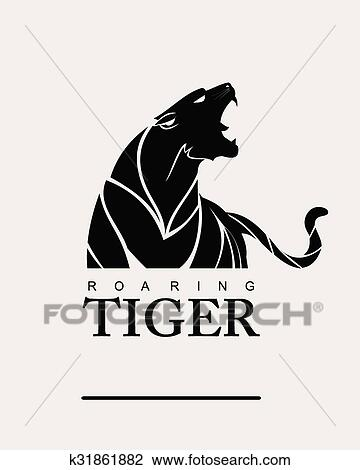 Clipart of Tiger.Tiger with label.Tribal tiger k31861882 ...