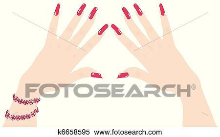 Clipart Of Vector Woman Hands With Red Fingernails And Ruby Bracelet