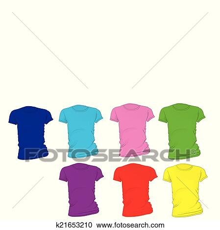 clipart of women s blank t shirt template in many color k21653210