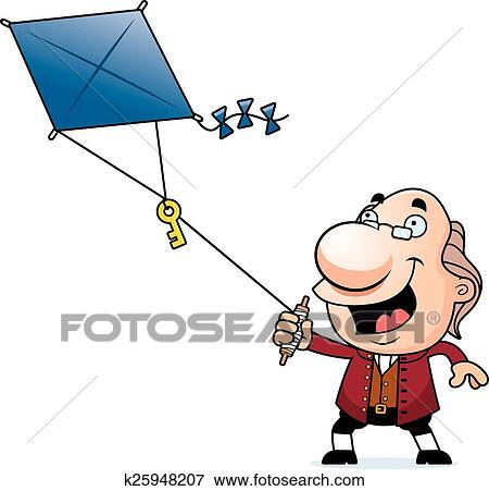 clip art of cartoon ben franklin kite k25948207 search clipart rh fotosearch com benjamin franklin inventions clipart benjamin franklin clip art large