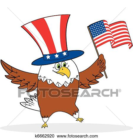 Clipart Of Cartoon Patriotic Eagle Holding American Flag K6662920