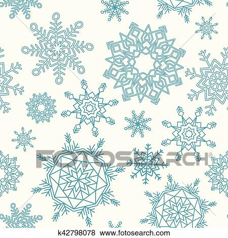 Christmas Pattern.Christmas Seamless Pattern With Snowflakes Clip Art