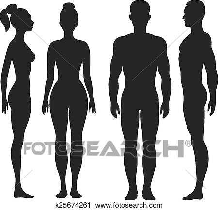 clipart of front and side view silhouettes of man woman k25674261 rh fotosearch com human vector illustration human vector icon