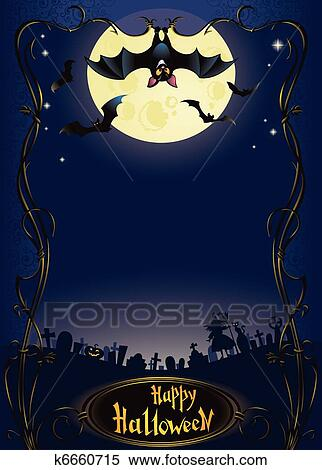 clipart of halloween background with funny bat k6660715 search