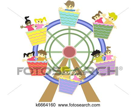 clipart of kids playing in the amusement park k6664160 search clip rh fotosearch com Amusement Park Clip Art Black and White amusement park clipart