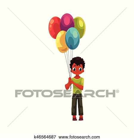 Little Black African American Boy Holding Big Bunch Of Birthday Balloons Cartoon Vector Illustration Isolated On White Background