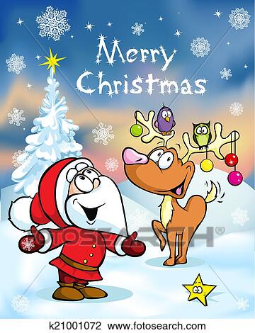 Clipart of Merry Christmas greeting card, funny santa claus and ...