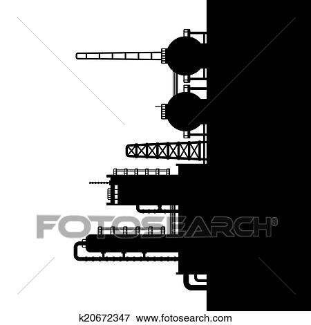 Clip Art of Oil Refinery Plant and Chemical Factory ...