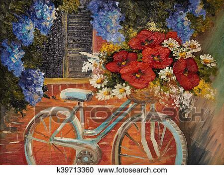 Banque d\'illustrations - peinture huile, sur, toile, -, fleurs, près ...