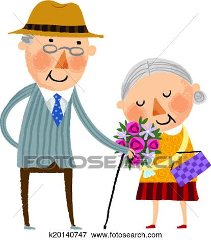 clip art of the view of old couple k20140747 search clipart rh fotosearch com old couple cartoon clipart funny old couple clipart
