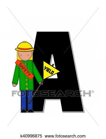 アルファベット 子供 スクール パトロール A イラスト K40996875
