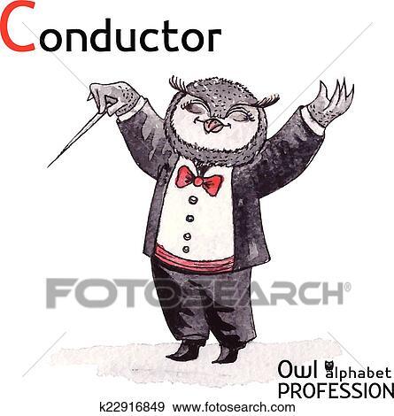Alphabet professions Owl Letter C - Conductor Vector ...