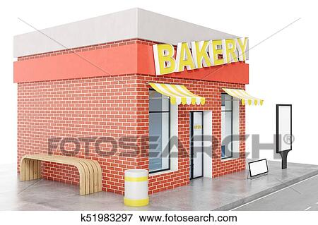 Bakery Store with copy space board isolated on white background  Modern  shop buildings, store facades  Exterior market  Exterior facade store