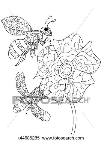 Bee On A Flower Animal Coloring Book For Adults Vector Illustration Anti Stress Adult Zentangle Style Wasp Black And White Lines